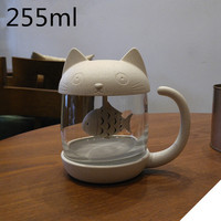 Cute Cat Cups Personality Glass Milk Mugs with Infuser Office Cup Coffee Tumbler Creative Breakfast Mugs Christmas Gifts