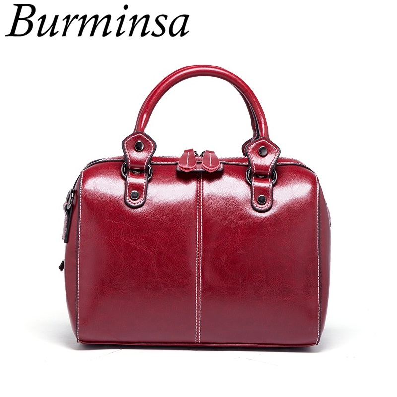 Burminsa Genuine Leather Boston Bags Women Small Handbags Ladies Vintage Designer Brand High Quality Shoulder Crossbody Bag 2019Burminsa Genuine Leather Boston Bags Women Small Handbags Ladies Vintage Designer Brand High Quality Shoulder Crossbody Bag 2019