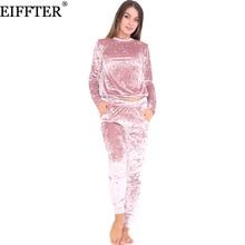 eiffter sexy women suits  autumn winter fashion velvet long sleeve women 2 piece set slim pants suits hoodies sets 0226