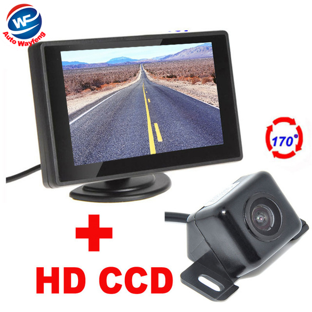 2 in 1 170 Degrees general universal Car Rear view Camera + 4.3 inch TFT LCD Car Parking Monitor Parking Assistance System kit