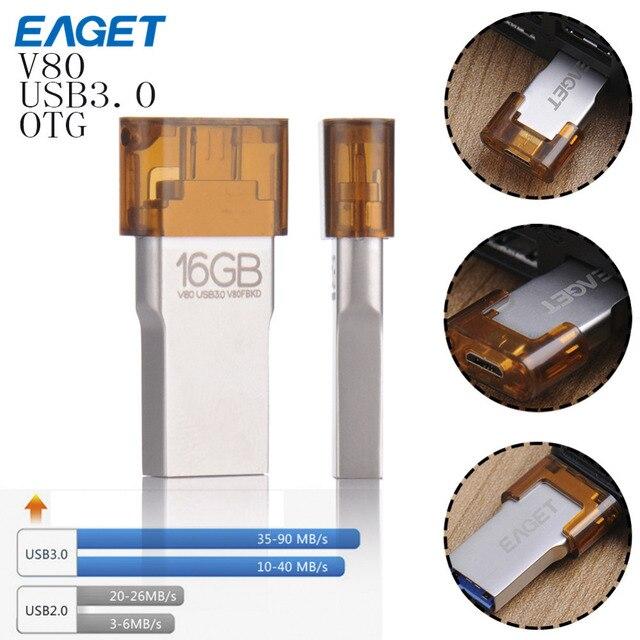 Eaget v80 passe h2test usb 3.0 otg usb flash drive inteligente telefone Tablet PC 64 GB 32 GB 16 GB pen drive pendrive de Armazenamento Externo