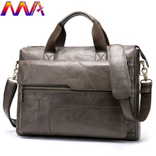 MVA Fashion Cowhide Leather Men`s Briefcase 14 Inch Laptop Computer Bag Fashion Business Men Casual Messenger Bag Men Handbag