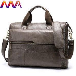 Image 1 - MVA Mode Koeienhuid Lederen mannen Aktetas 14 Inch Laptop Computer Tas Mode Business Mannen Casual Messenger Bag Mannen Handtas