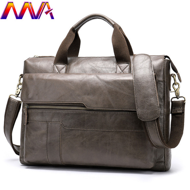 MVA Mode Koeienhuid Lederen mannen Aktetas 14 Inch Laptop Computer Tas Mode Business Mannen Casual Messenger Bag Mannen Handtas