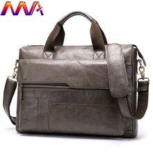 Mva moda couro dos homens maleta 14 Polegada computador portátil bolsa de negócios moda masculina casual mensageiro bolsa