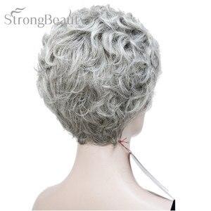 Image 5 - StrongBeauty короткий черный коричневый микс блонд парик с окраской перьями Женские синтетические вьющиеся парики