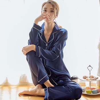bb8102857d Mujer de satén de seda pijamas conjunto de pijamas de manga larga ropa de dormir  Pijama de traje de Pijama de mujer dormir conjunto de dos piezas camisetas  ...