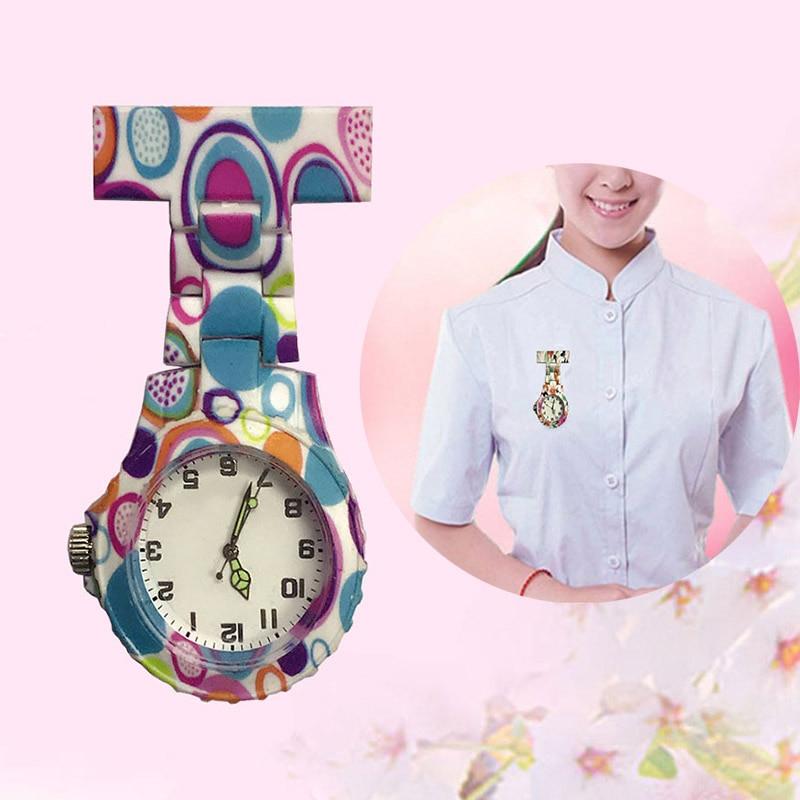 Colorful Silicone Round Dial Quartz Pocket Nurse Watch Quartz Brooch Doctor Nurse Hanging Watches LL@17