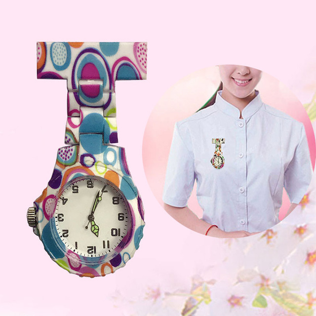 Colorful Silicone Round Dial Quartz Pocket Nurse Watch Quartz Brooch Doctor Nurs