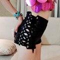2016 Pantalones Cortos de Cintura Alta Mujeres Atractivas de La Manera Pantalones Cortos de Verano Negro Más Tamaño Vaqueros Fresco Negro