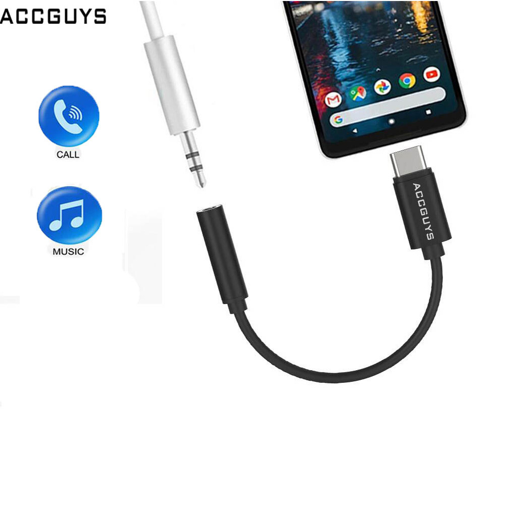 ACCGUYS USB Type C To 3.5mm Earphone Jack Aux Audio Cable Adapter DAC Chip Calling Music Converter For Huawei Google Pixel 2 HTC