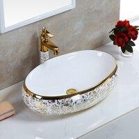 Большой овальный ванная комната Lavabo Керамика Столешница умывальник гардероб ручная роспись сосуд раковина чаша