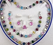 Selling jewerly Multicolor Zircon Link Bracelet / Earrings / Ring / Necklace Set #1751