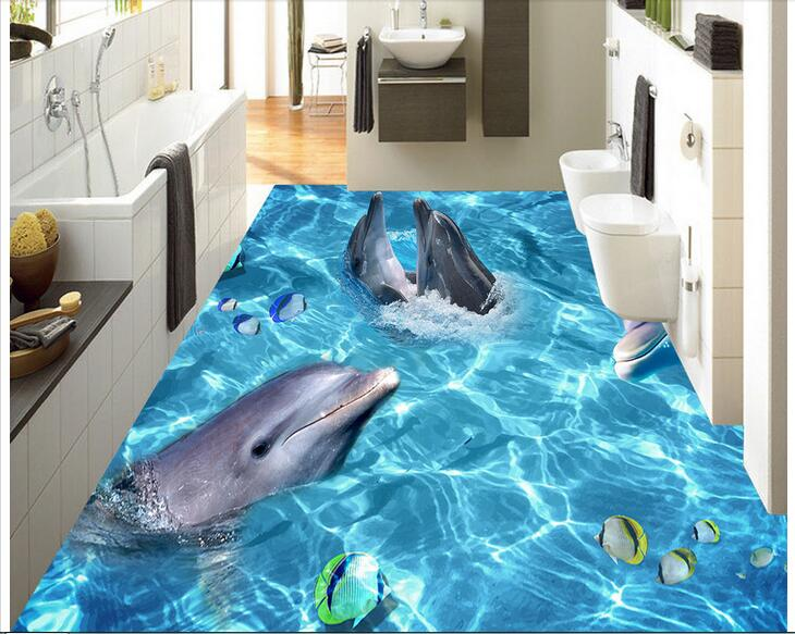 3d pvc flooring custom mural self adhesion waterproof  floor Dolphin park painting picture photo 3d wall room murals wallpaper eu committees