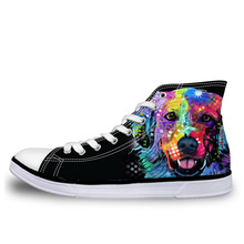NOISYDESIGNS Art Pet Dog Pug Bulldog Women Casual High Top Canvas Shoes Classic Men Female Vulcanized for Ladies Girls boy