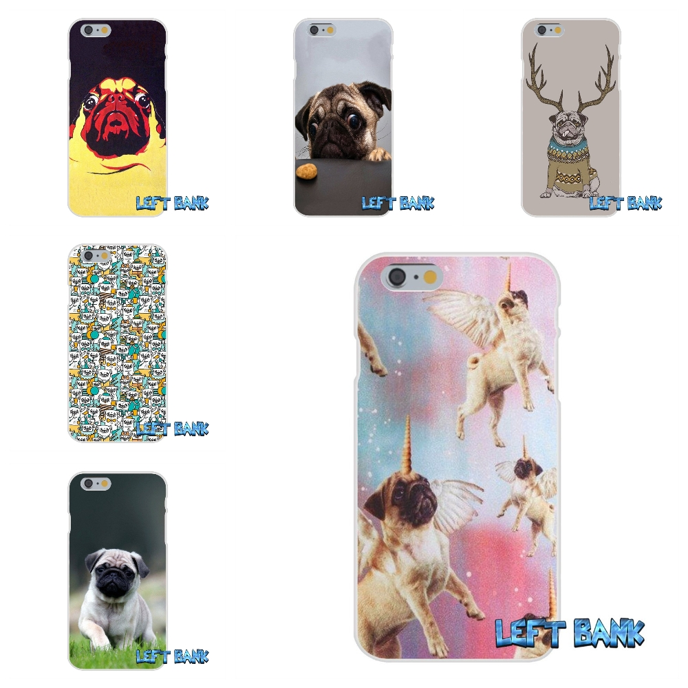 For iPhone 4 4S 5 5S 5C SE 6 6S 7 Plus Funny Toy Dog Pug Soft Silicone TPU Transparent Cover Case