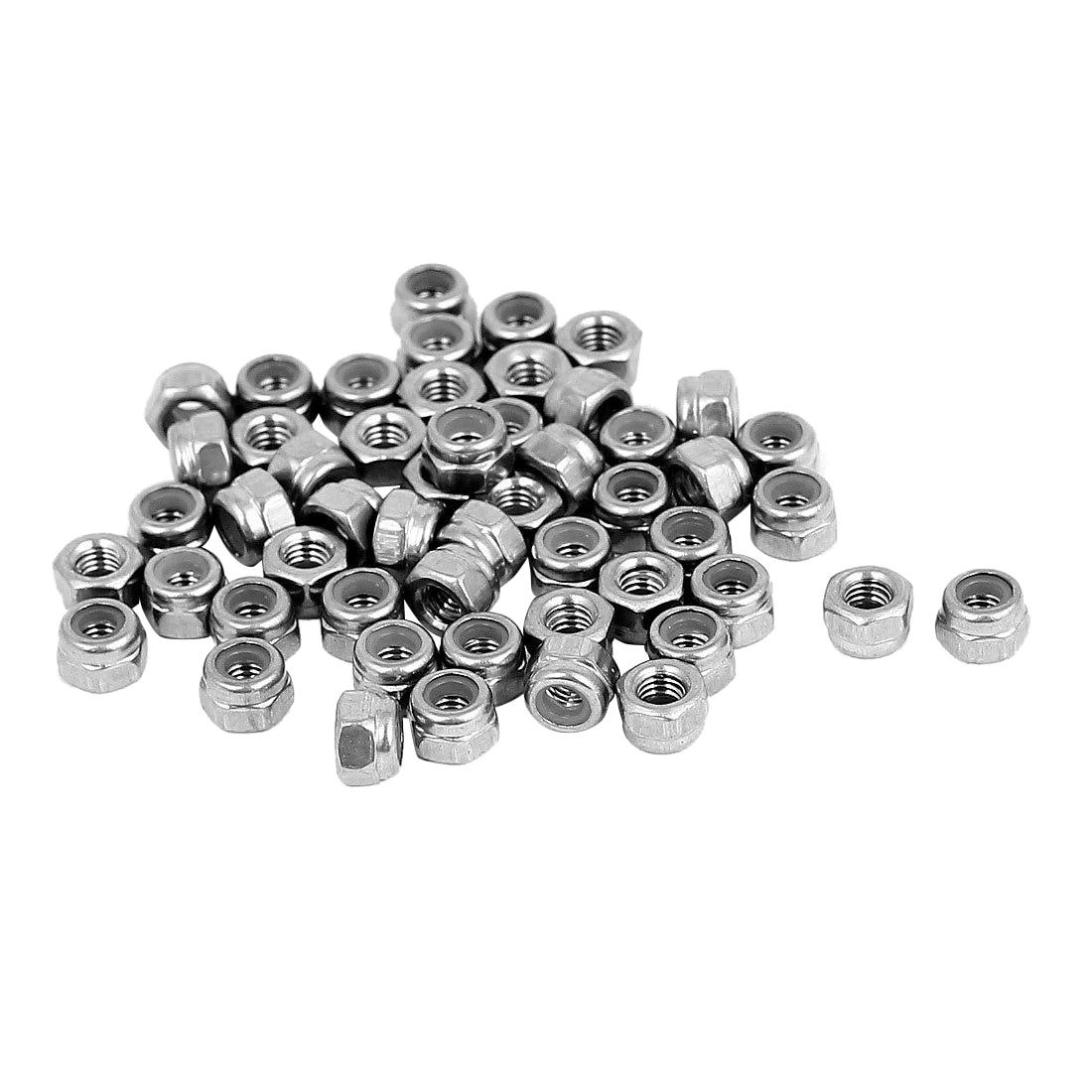 M3 x 0.5mm Stainless Steel Nylock Nylon Insert Hex Lock Nuts 50pcs