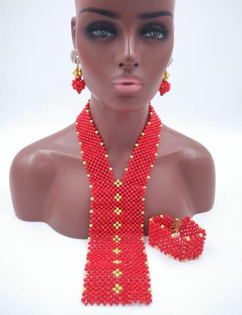 Nuevo estilo de color rojo opaco cristal nigeriano beads boda africanos joyería conjunto LSN005