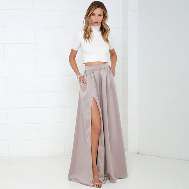 109f0d6c0e Elegant Women Long Skirt with Pockets Classy Pretty Maxi Skirt with Slits Floor  Length A Line Female Skirt for Ladies to Office