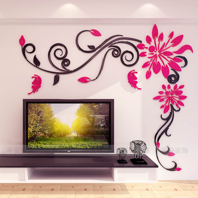 45b51e49bb3 placeholder Acrylic crystal flower vine 3D wall stickers living room wall  decoration Removable sticker Creative home decor