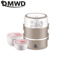 DWMD Portable Electric Heating Lunchbox 1.7L Mini Ceramics Food Warmer Container Cooking Double Lunch Box Rice Cooker Steamer EU