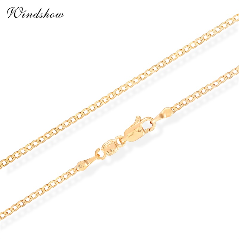 Children Boys Baby Kids Jewelry Yellow Gold Color Flat Curb Chain