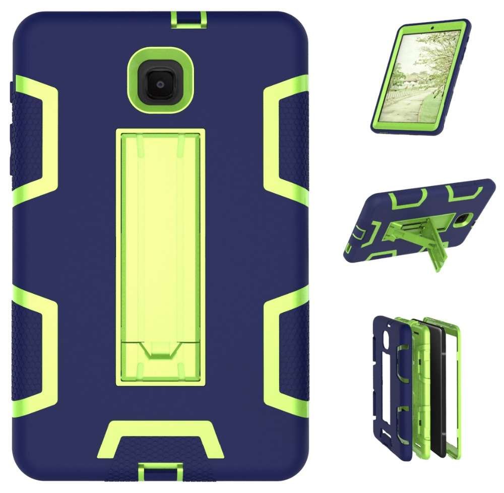 For Samsung Galaxy Tab A 8.0 2018 T387 T387V SM-T387C SM-T387V Armor Shockproof Hybrid Heavy Duty Protective Stand Cover Case