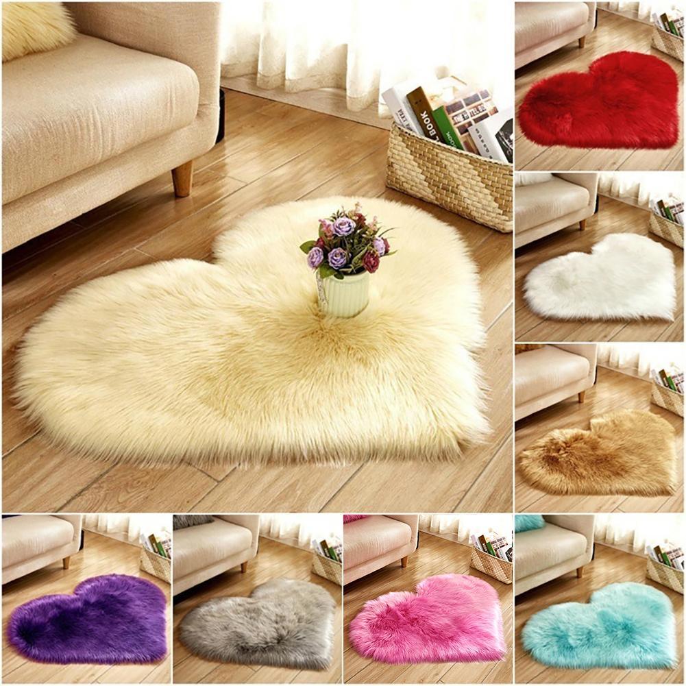 Soft Creative Heart Shape Plush Rug Anti-Slip Carpet Door Mat Home Bedside Decor Hot