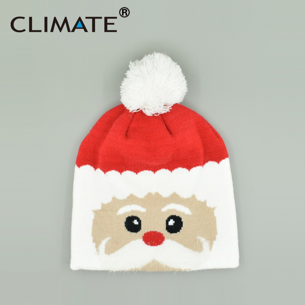 CLIMATE Father Christmas Winter Warm Knitted Beanies Hat Caps Santa Claus Decoration New Year Presents Hat For Teenagers Adult giant christmas inflatable santa inflatable christmas father large santa claus free shipping