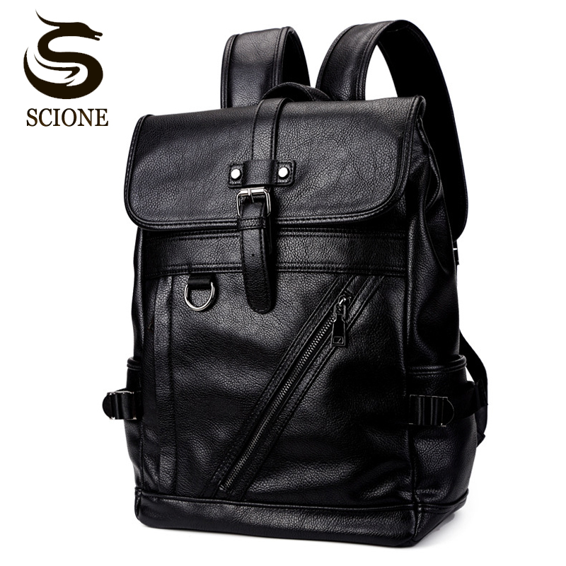 Men's Backpack PU Leather School Bag Waterproof Collge High School Backpacks for Teenage Girls Male Laptop Backpack Travel Bags italian style fashion men s jeans shorts high quality vintage retro designer classical short ripped jeans brand denim shorts men