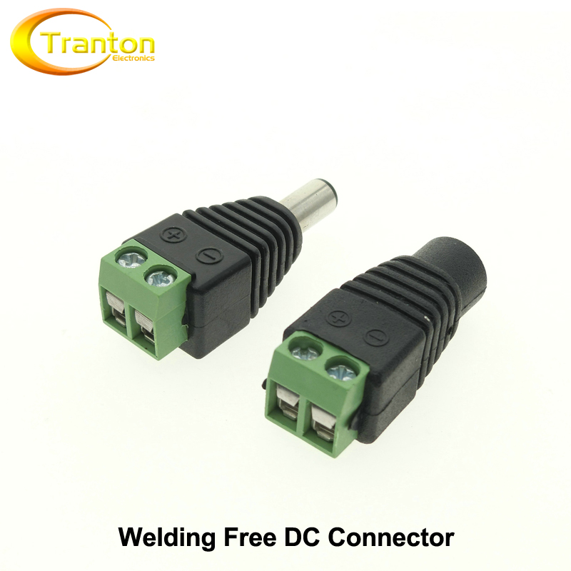 DC Connector for LED Strip Free Welding LED Strip Adapter Connector Male or Female, 5pcs-Lot.