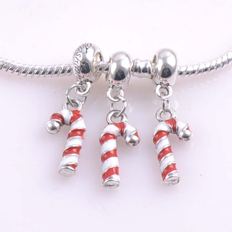 10 pcs 20x9mm Silver christmas candy cane Spacers Beads charms Fit Pandora Charms Bracelets Jewelry Handmade DIY DK-058