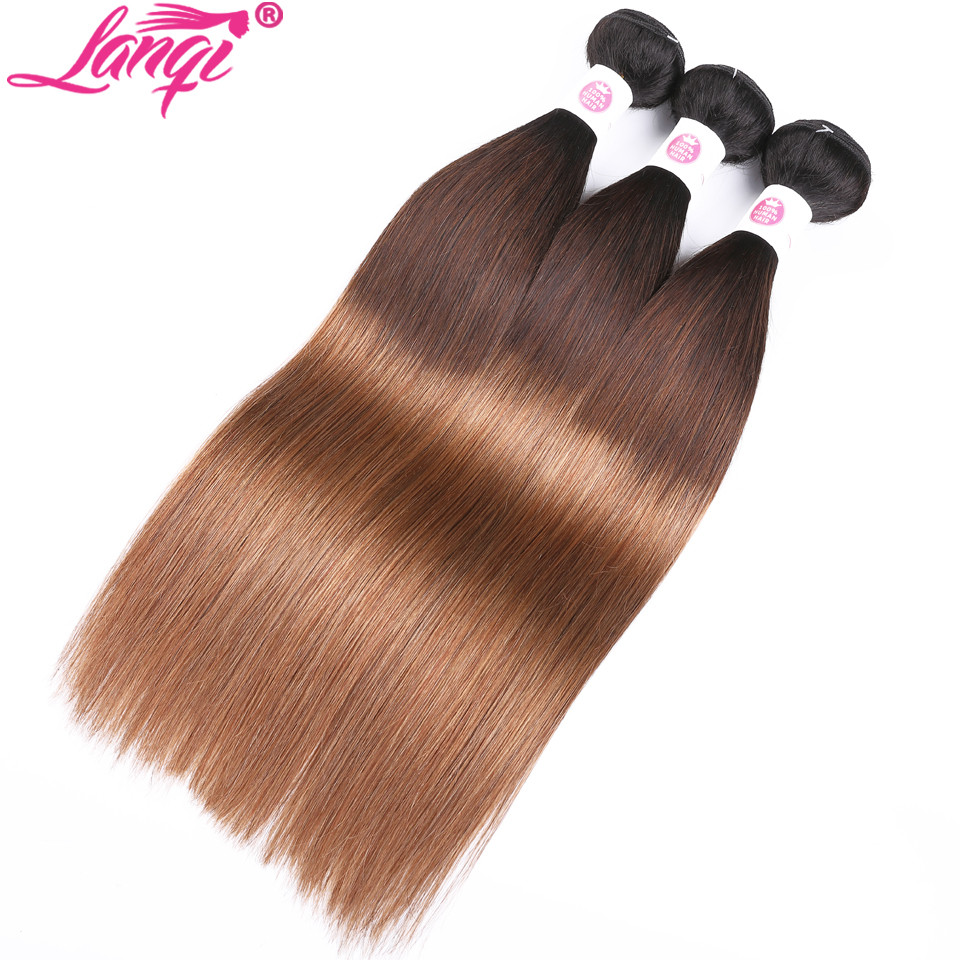 Peruvian hair Straight dark roots blonde hair bundles with closure 1b/4/30 lanqi 3 tone ombre human hair weave with lace closure-in 3/4 Bundles with Closure from Hair Extensions & Wigs    3