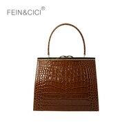 Retro Clasp bag frame totes handbag pattern alligator women business OL cow genuine leather vintage box bag 2018 luxury brand