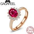 GAGAFEEL de Lujo y elegante de los anillos de bodas para las mujeres Pura 925 joyería de plata esterlina anillos de oro rosa plateado Rojo Corindón