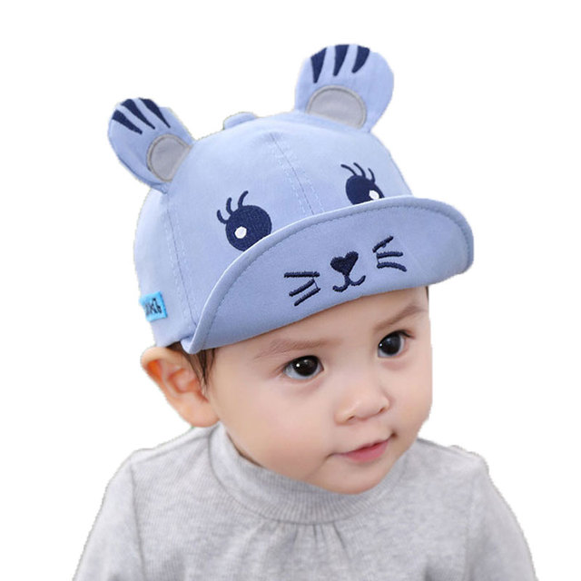 a23e5360c US $4.98 20% OFF Baby Baseball Cap Kids In Girl Boys Cute Cartoon  Embroidery Soft Brim Ears Hat Adjustable Baseball Hat Child Cotton Cap  M5527-in ...