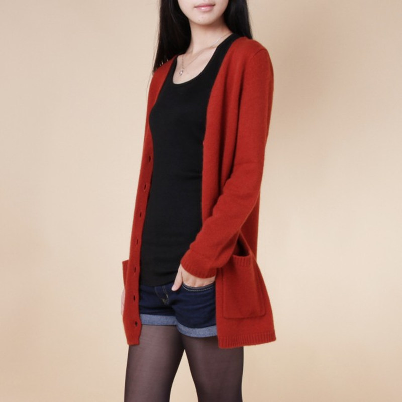 14 Pure Cashmere Sweater Medium Long Cashmere Cardigan Loose Sweater For Female Outerwear