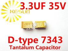3.3 МКФ 35 В D тип 7343 2917 335 В SMD Тантал Конденсатор Разъем TAJD335K035RNJ x100PCS Бесплатная Доставка