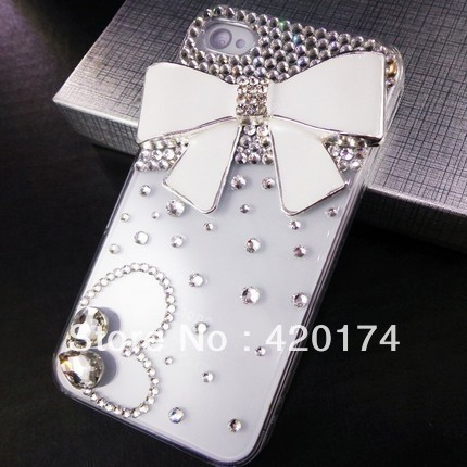 Bling Luxury Crystal Rhinestone Diamond Love Heart White Bow Bowknot Case Cover for iPhone 4 & 4s