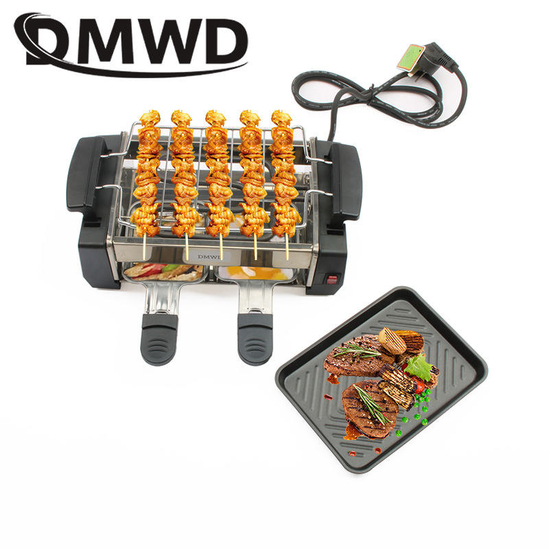 DMWD Smokeless Electric Raclette Grill Double Layers Non-Stick BBQ Roasting Pan Griddle Mini Barbecue Stove Machine Roaster EU(China)