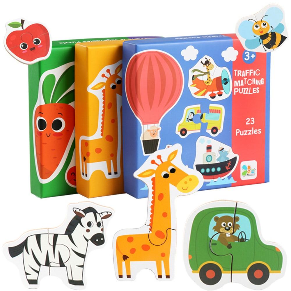 Детские игрушки для малышей Монтессори деревянная головоломка ручная захват доска танграмма головоломка развивающая игрушка познаватель...