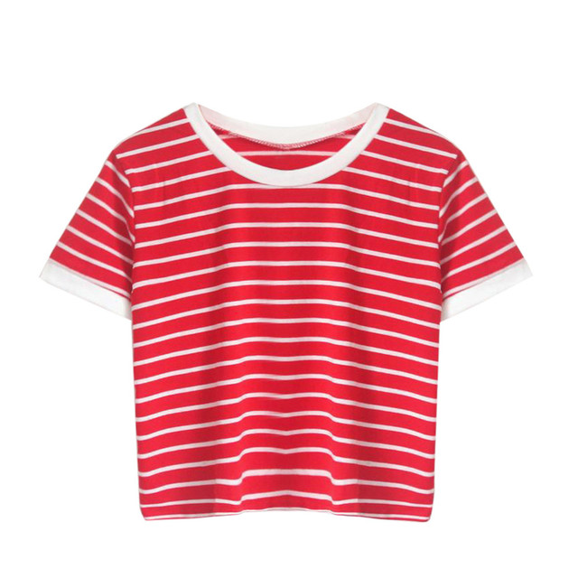 New Striped Casual T Shirt Tees , Shirts & Tops Women color: Red