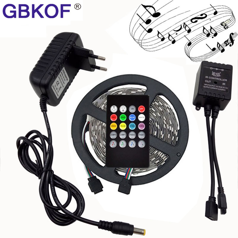 RGB LED Strip Light 5050 10M 5M 30Leds/m led Tape Waterproof diode ribbon 44Key/24Key/Music Remote Controller DC12V adapter set 10m 5m 3528 5050 rgb led strip light non waterproof led light 10m flexible rgb diode led tape set remote control power adapter