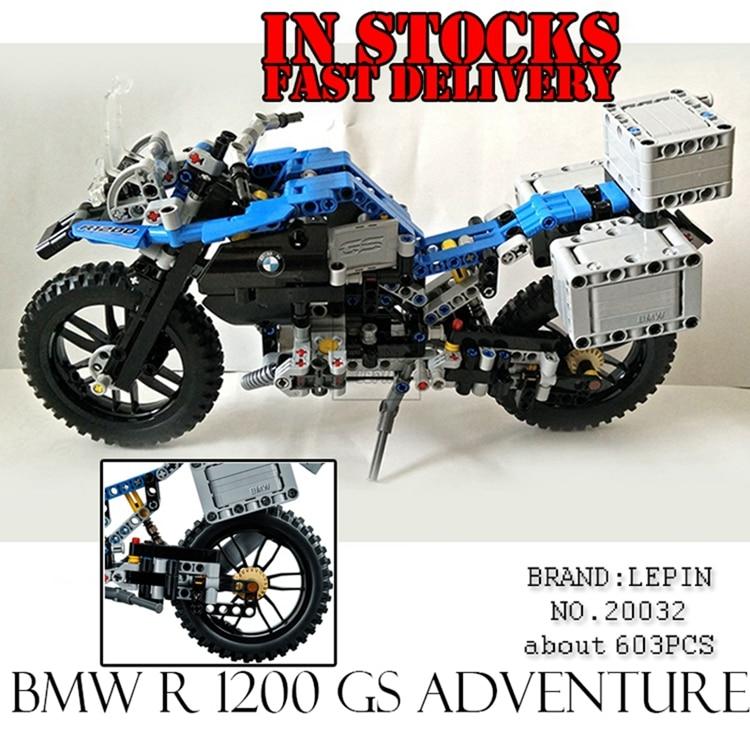 Lepin 20032 603pcs Technic Series Off-road Motorcycles R1200 GS Building Blocks Compatible 42063 lego technic конструктор приключения на bmw r 1200 gs 42063