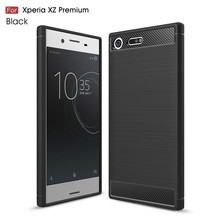 SuliCase Quality Carbon Fiber Soft TPU Cases for Sony Xperia XZ Premium Cover Silicone Case for Sony XZ Premium G8141 Dual G8142