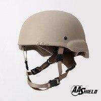 AA Shield Ballistic MICH Tactical Teijin Middle Cut Helmet Color Tan Bulletproof Aramid Safety NIJ Level IIIA Military Army