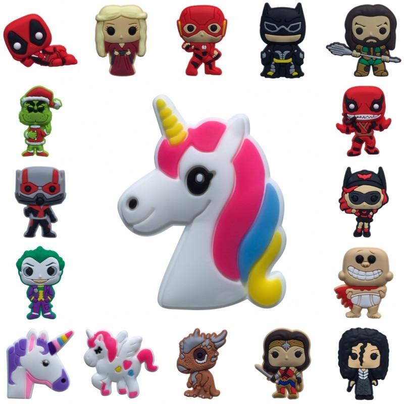 New 1pcs Deadpool Unicorn Antman Joker Flash Cartoon PVC Shoe Charms Buckles Accessories Fit Bracelets Croc JIBZ Kids Gifts