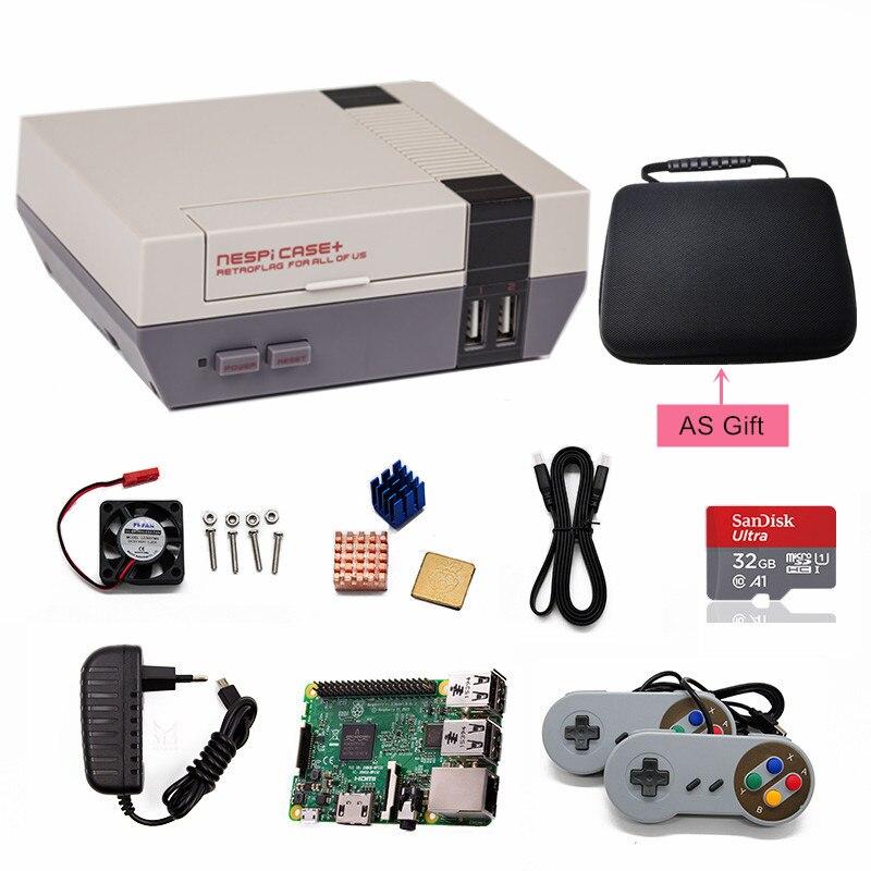 Boîtier Original Retroflag NESPI + Plus Console de jeu vidéo pour Raspberry Pi 3B + 3 B Plus lecteur de jeu TV avec manettes de jeu