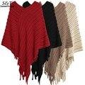 Mujeres Batwing Cuello En V de Rayas Irregulares Borlas Tejer Suéter Del Cabo Suelto Poncho Knit Top Cardigan Pullover Outwear U2