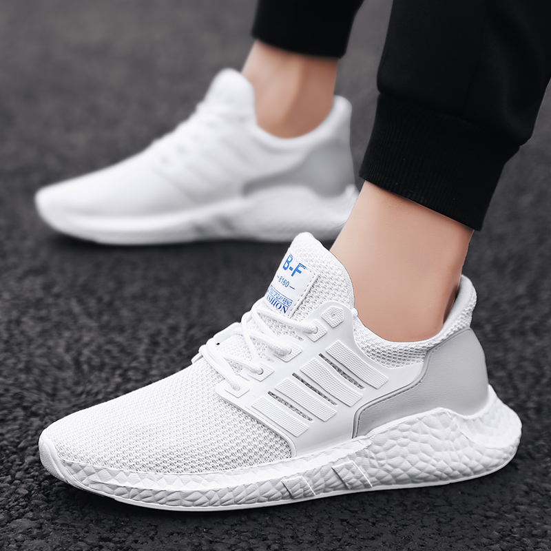 Exclusive New Breathable Men Sneakers Male Shoes Adult White Black Gray High Quality Comfortable Non-slip Soft Mesh Men Shoes